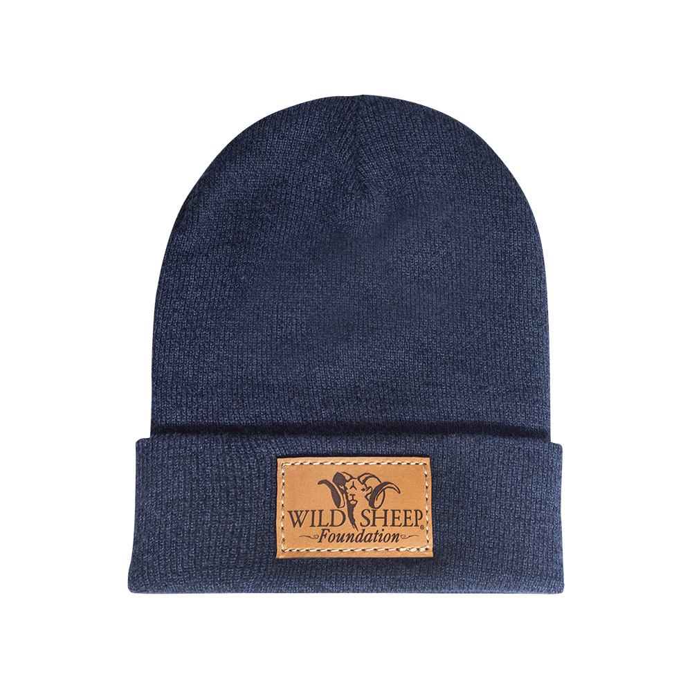 Leather Patch Beanie - Navy