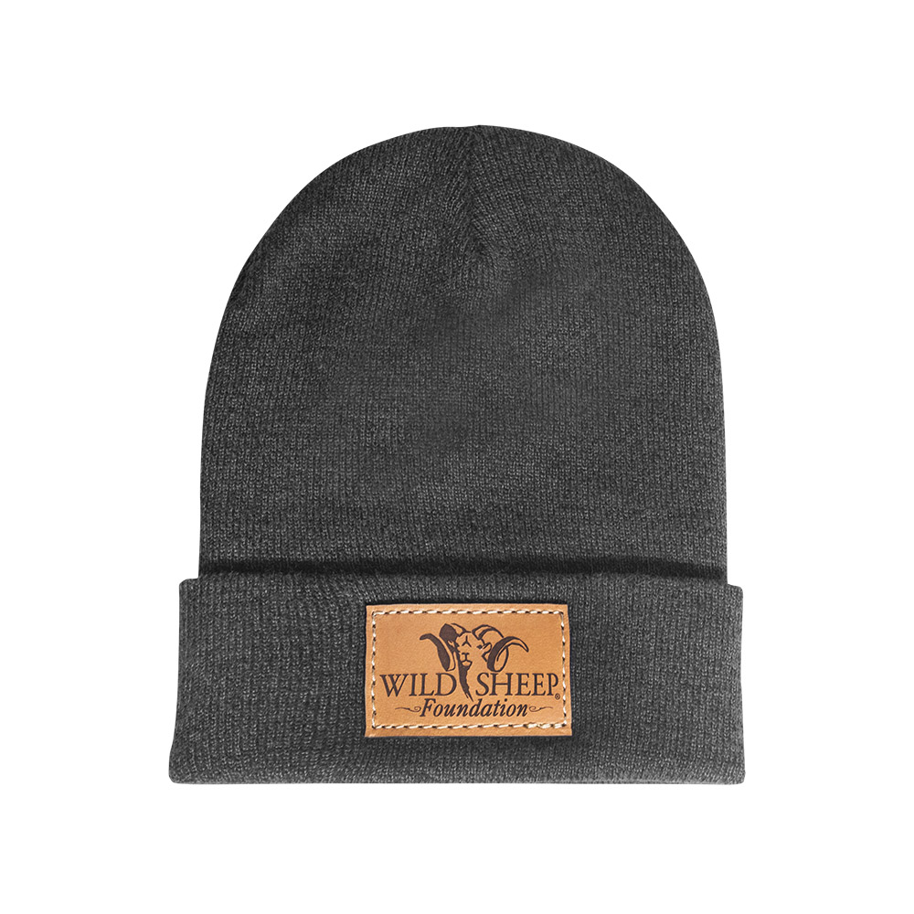 Leather Patch Beanie - Grey